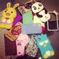 Cartoon Animal Design Soft Case for iPhone 4 and 4S (Assorted Colors)