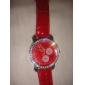 Big Dial PU Leather Band Crystal Characteristic Women Girl Ladies Wrist Watch - Red