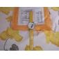 Big Dial PU Leather Band Crystal Characteristic Women Girl Ladies Wrist Watch - Yellow