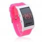 unisex røde ledet digitale rektangel tilfelle rosa silikon bandet armbåndsur
