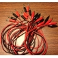 Крокодил кабель щуп (красный и усилитель, черный, 100см, 10 шт.)