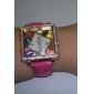 rhinstone 상감 다채로운 사각형 다이얼 (빨간색)와 여성 가죽 밴드 아날로그 석영 손목 시계