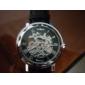 Hombre Reloj Esqueleto Cuerda Automática Huecograbado PU Banda Reloj de Pulsera Negro