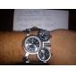 Oulm Hombre Reloj Militar Reloj de Pulsera Cuarzo Cuarzo Japonés Tres Husos Horarios Piel Banda Negro Negro Negro/blanco