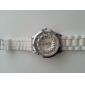 여성의 국화 스타일 다이얼 흰색 실리콘 밴드 석영 아날로그 손목 시계