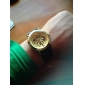 Men's Auto-Mechanical Gold Dial Black PU Band Wrist Watch