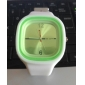 Unisex Jelly Green Dial White Silicone Band Quartz Analog Wrist Watch