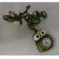 남여 합금 아날로그 쿼츠 시계 열쇠 고리 (청동)의 귀여운 올빼미