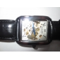 Men's Auto-Mechanical Square Hollow Dial Black Leather Band Wrist Watch