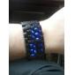 של בני זוג הנורית הכחולה לבה סגנון פלסטיק נד הדיגיטלי שורש כף יד שעונים (Black & White, 1-Pair)