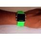 Montre LED Sportive, Bracelet en Silicone, Cadran Carré, Unisexe - Verte