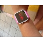 Mirror Face Silicone Band Jelly LED Wrist Watch For Men Women (Pink)