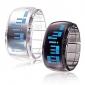 Couple's Watch Futuristic Blue LED Digital Bracelet (Black & White, 1-Pair)