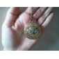 cobre antigo do vintage coruja colar de zircão