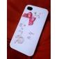 Kaksipuolinen kuori iPhone 4/4S:lle - vaaleanpunainen rusetti & söpö lintu