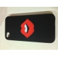 Red Lip Pattern PU Leather Case for iPhone 4 and 4S (Black)