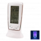 Blue Backlight Digital LCD Music Alarm Clock Calendar Thermometer (White, 3xAAA)