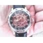 WINNER Hombre Reloj de Pulsera El reloj mecánico Cuerda Automática Huecograbado PU Banda De Lujo Negro Blanco Negro Rojo Bronce