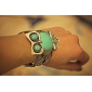 Fat And Logy Owl Pattern Tibetan Silver Turquoise Bracelet