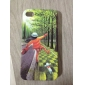 Happy Girl Pattern Protective Case for iPhone 4 and 4S (Green)