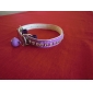 Cat Dog Collar Adjustable/Retractable With Bell Solid Rhinestone Black White Blue Pink PU Leather