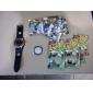 남성 드레스 시계 일본 쿼츠 석영 PU 밴드 블랙 화이트 레드 브라운