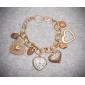 Montre-Bracelet à Quartz pour Femme, Affichage Analogique, Cadran Forme Cœur - Dorée