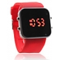 Silicone Band Women Men Unisex Jelly Sport Style Square Mirror LED Wrist Watch - Red Cool Watch Unique Watch