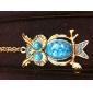 Gun Color Plated Vintage Owl Blue Gem Necklace
