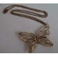 Antique Copper Hollow-Out Butterfly Necklace