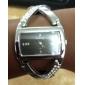 Orologio da donna, al quarzo, analogico, quadrante rettangolare a fondo nero, con applicazioni di diamantini artificiali, cinturino in PU