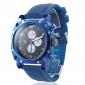 мужской синий квадрат случае силиконовой лентой кварцевые наручные часы