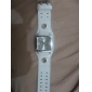 Unisex Square Case White Dial Wide PU Band Quartz Wrist Watch