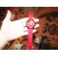 Women's Chrysanthemum Style Dial Silicone Band Quartz Analog Wrist Watch (Red)