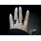 Z&X®  Black Cap Glasses Goatee Shape Ring