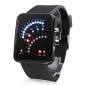 Men's Watch Digital 29 LED Red & Blue Light Black Silicone Strap