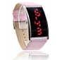 kvinnor röd LED digital rosa pu band armbandsur