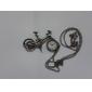 Unisex Fahrrad Stil Legierung Analog Quarz Schlüsselbund Halskette Uhr (Bronze)