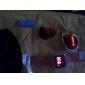 Unisex Red LED Digital Square Case Orange Silicone Band Wrist Watch