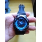 Unisex Double-Movement Multi-Functional Blue Face Black Silicone Band Sporty Wrist Watch