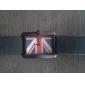 reloj de pulsera de cuarzo negro pu banda de línea cuadrada unisex (colores surtidos)
