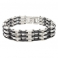 Cabochon Stainless Steel Black Gum Bracelet