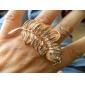 Hojas Set metal en forma de barrena ajustable Anillo Doble Loop (de oro)