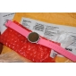 Unisex Jelly Sports Style Round Mirror Face Red Light LED Wrist Watch - Pink