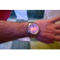 analógico unissex - aço mostrador duplo mostrador do relógio digital de pulso banda