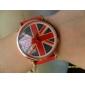 uk flag padrão pu banda quartzo relógio de pulso analógico feminino (cores sortidas)