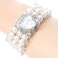 Women's Pearl Style Plastic Analog Quartz Bracelet Watch (Assorted Colors)