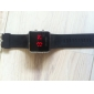 Unisex Red LED Digital Square Case Black Silicone Band Wrist Watch