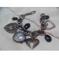 Women's Fashionable Sweet Heart Pendant Silver Alloy Quartz Bracelet Watch