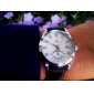 Men's Auto-Mechanical White Dial Brown PU Band Wrist Watch